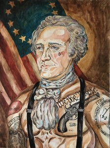 Tattooed Alexander Hamilton. Acrylic on gallery style wood for sale
