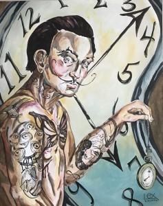 "Salvador Dali tattooed acrylic painting on wood 16""x20"" for sale"