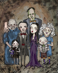 Digital Illustration. Lil Addams Family prints for sale