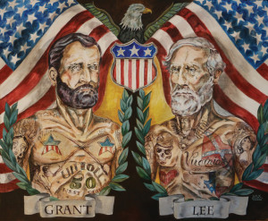 Tattooed Civil War: Grant and Lee original painting on wood