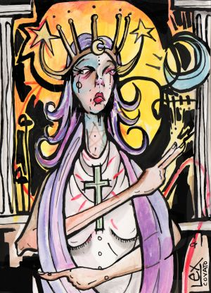 lex covato high priestess tarot graffitti illustration expressionism.jpeg